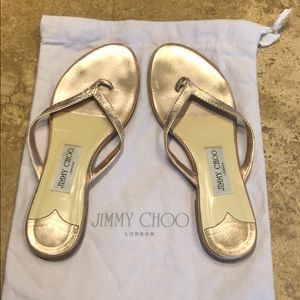 Jimmy Choo Copper Leather Flip Flop Sandals